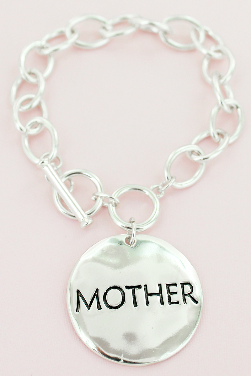 Silvertone Mother Double-Sided Disk Toggle Bracelet