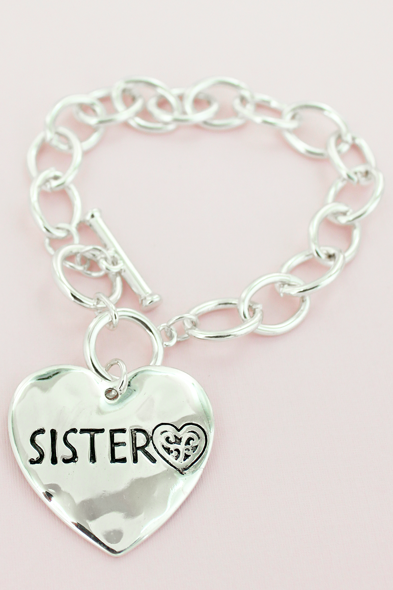 Silvertone Sister Double-Sided Heart Toggle Bracelet