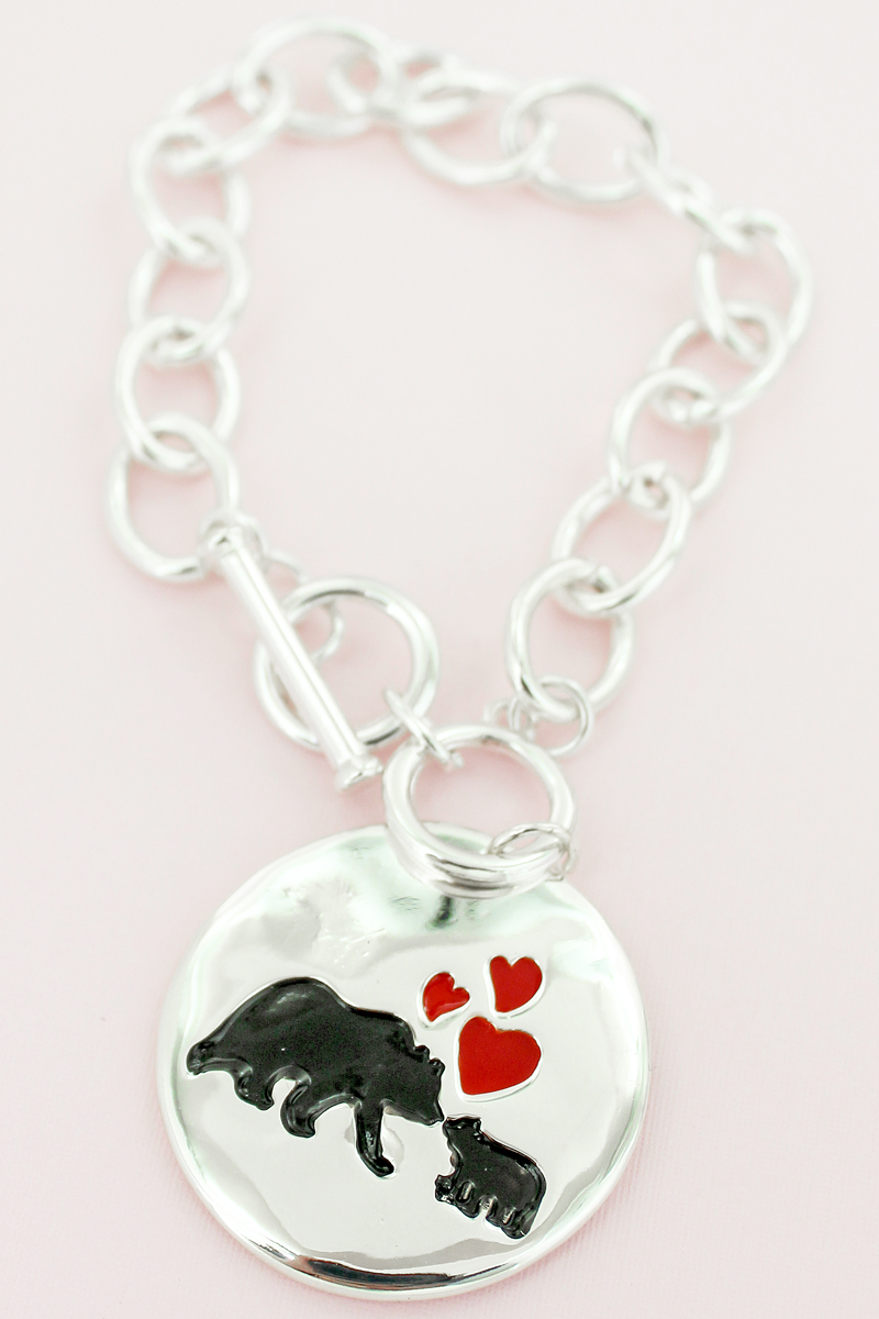 Silvertone Mama Bear Double-Sided Disk Toggle Bracelet