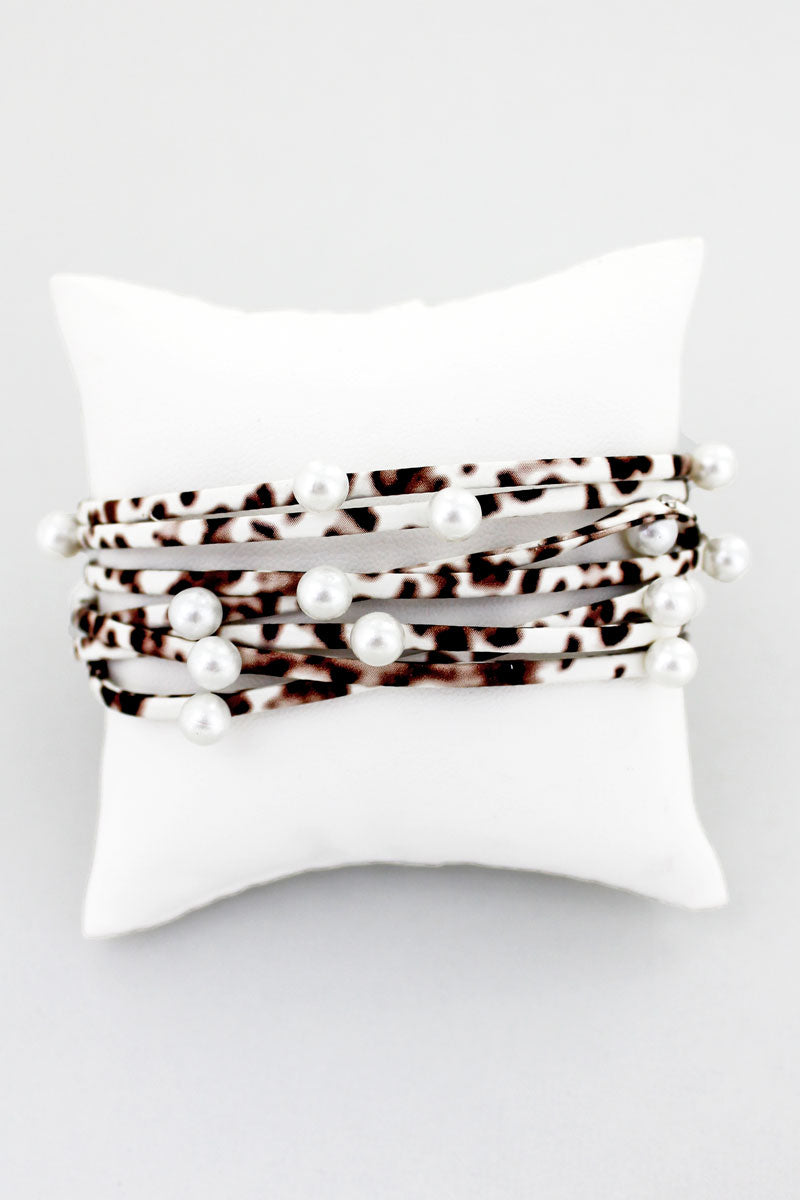 Pearl Accented White Leopard Multi-Strand Magnetic Bracelet