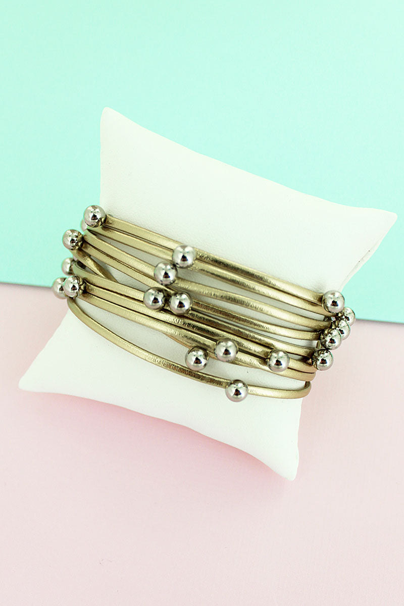 Silvertone Beaded Metallic Gold Faux Leather Multi-Strand Magnetic Bracelet