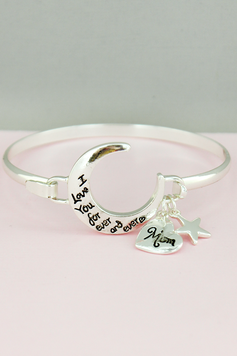 Silvertone 'I Love You' Crescent Moon Charm Bangle