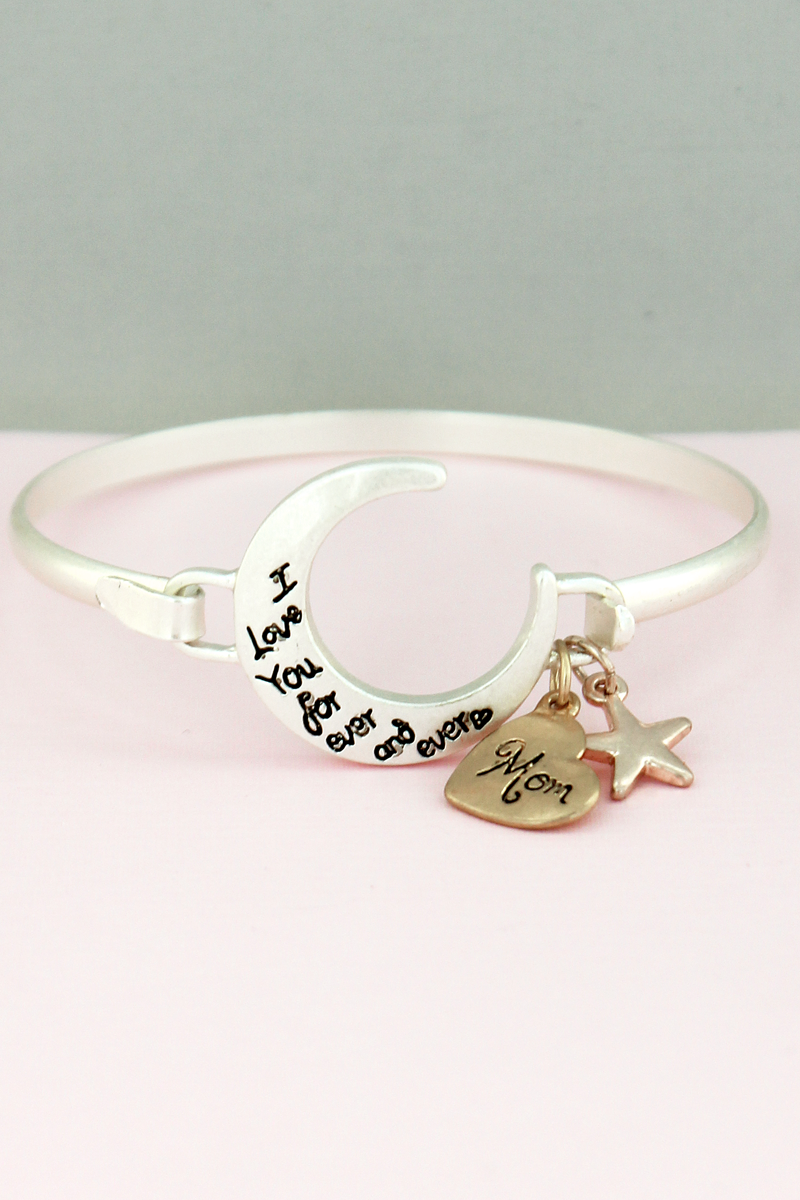 Tri-Tone 'I Love You' Crescent Moon Charm Bangle