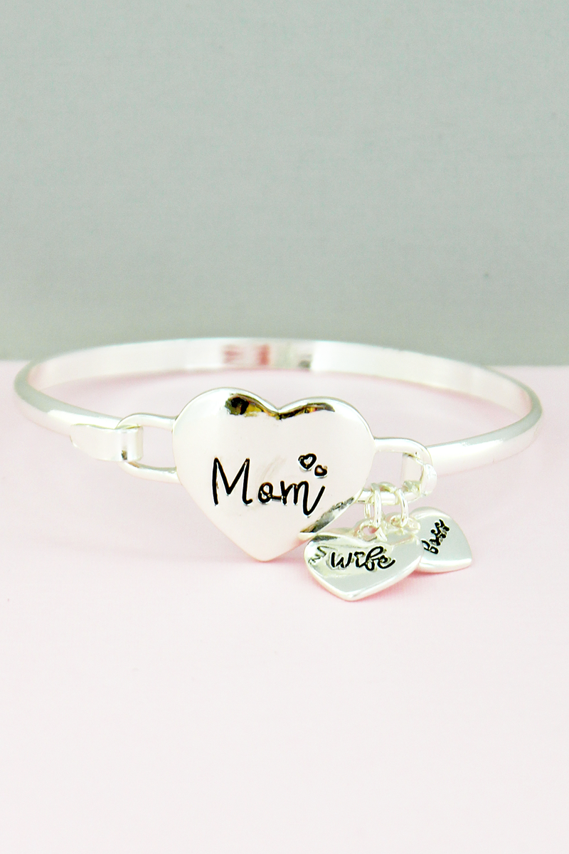 Silvertone 'Mom, Wife, Boss' Heart Charm Bangle