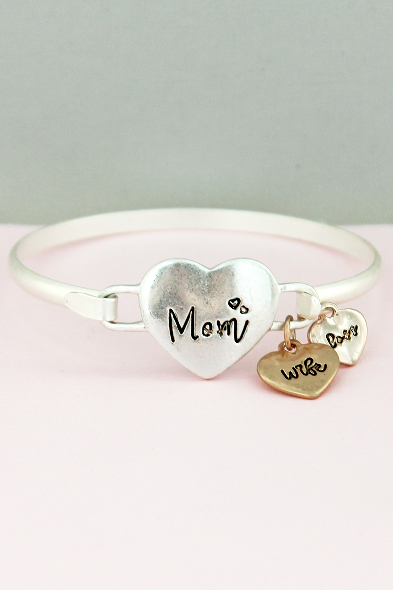 Tri-Tone 'Mom, Wife, Boss' Heart Charm Bangle