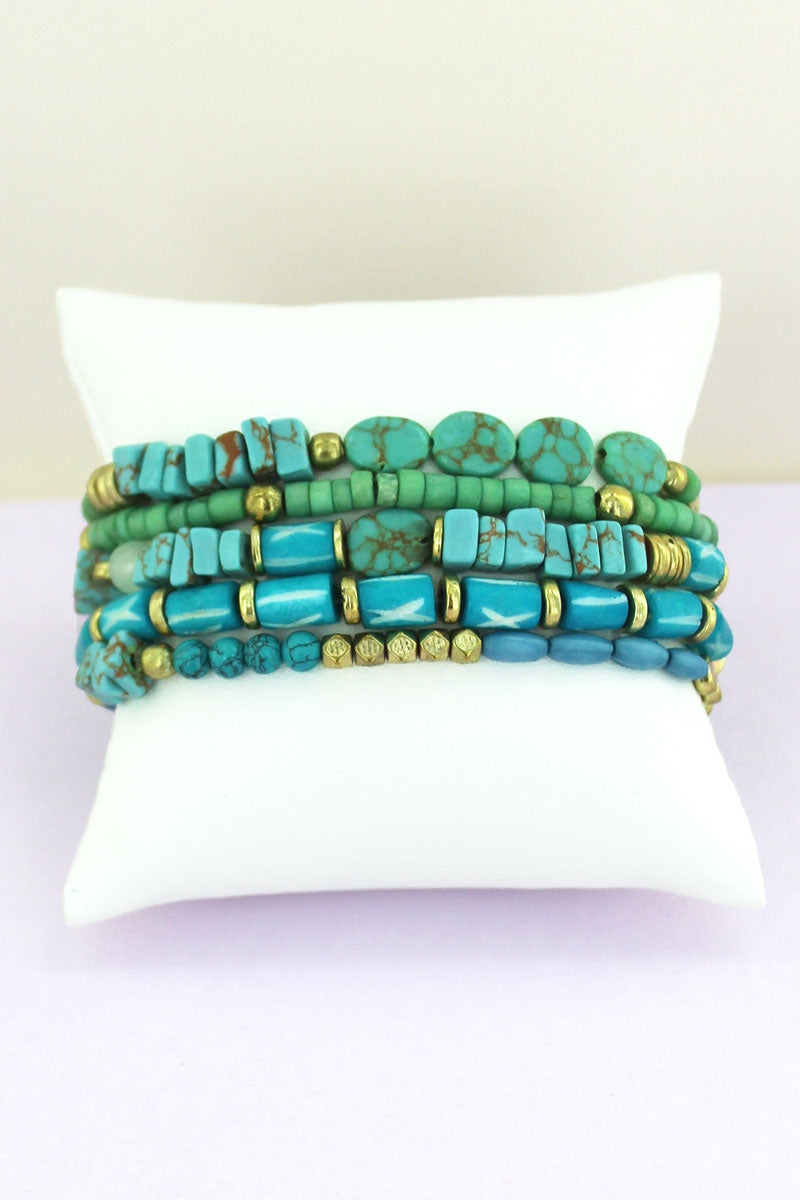 Turquoise and Goldtone Bead Medley Bracelet Set