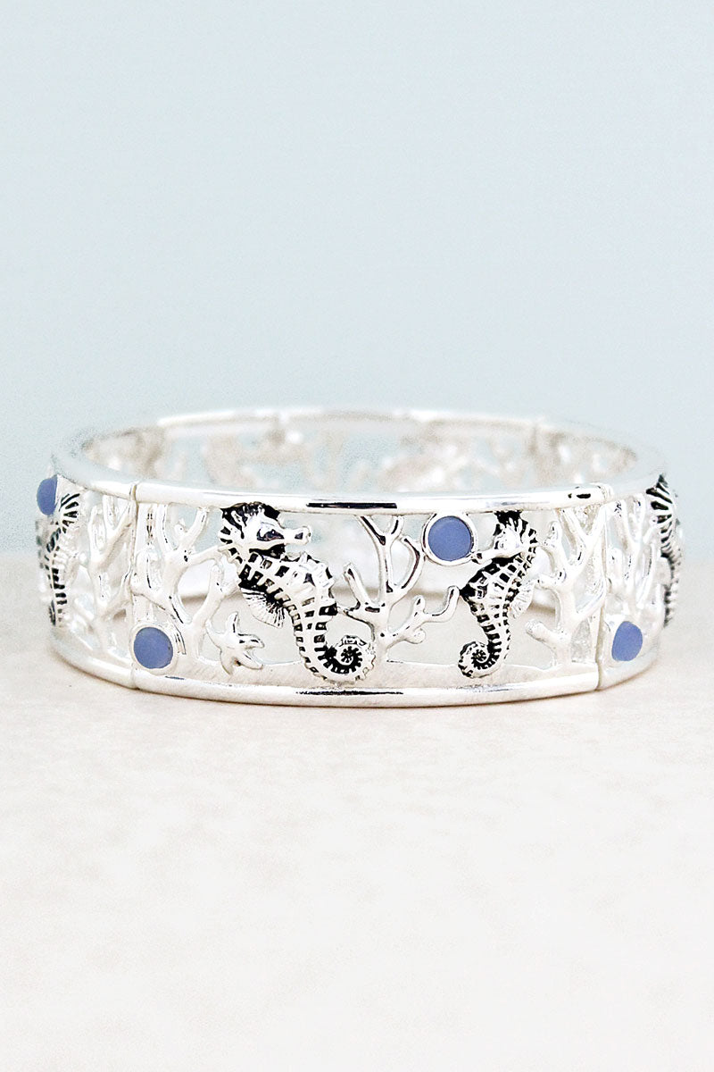 Blue Sea Glass and Silvertone Seahorse Stretch Bracelet
