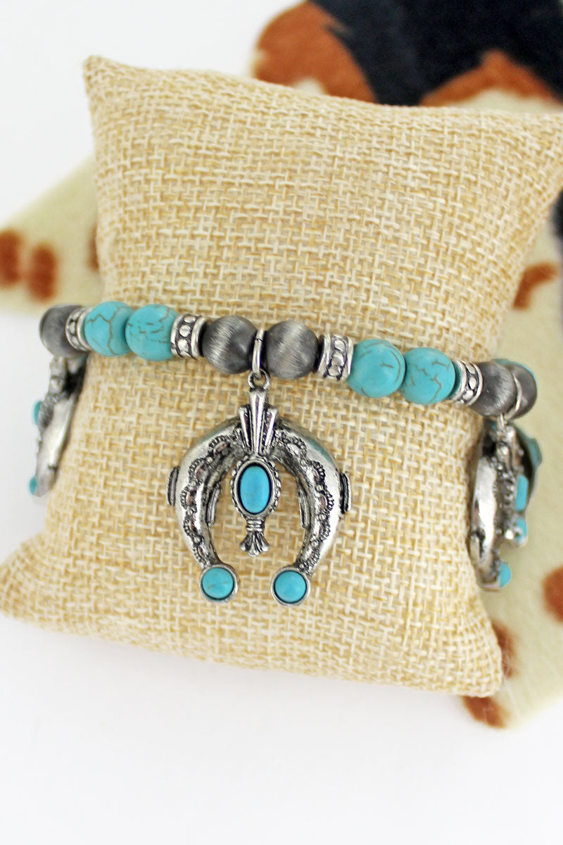Naja Silver Pearl and Turquoise Beaded Charm Bracelet