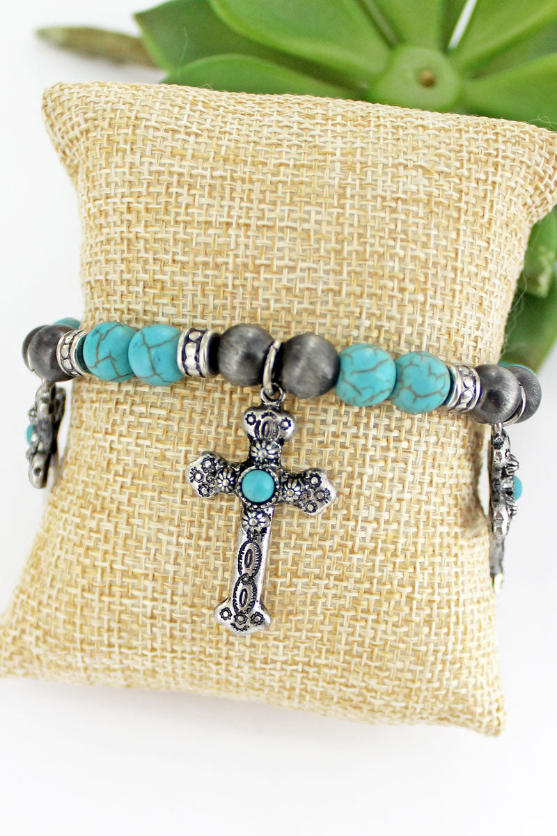 Cross Silver Pearl and Turquoise Beaded Charm Bracelet
