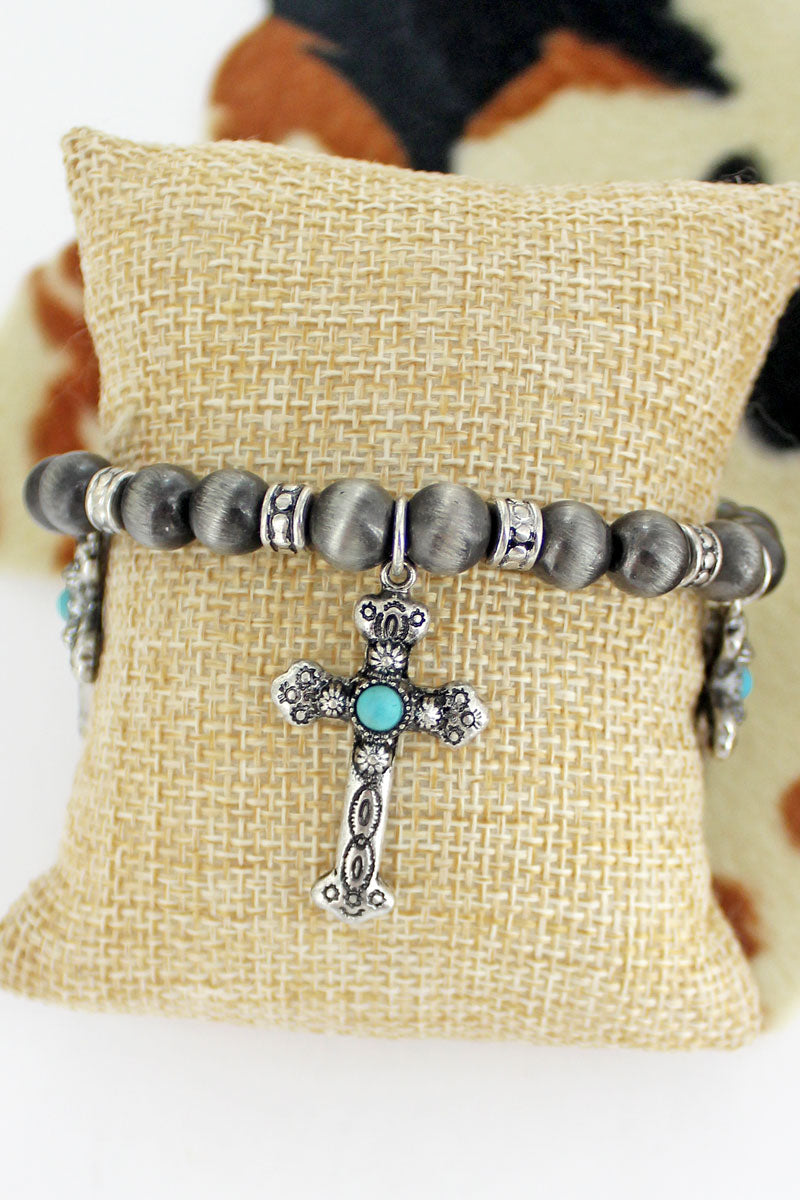 Cross Silver Pearl Beaded Charm Bracelet