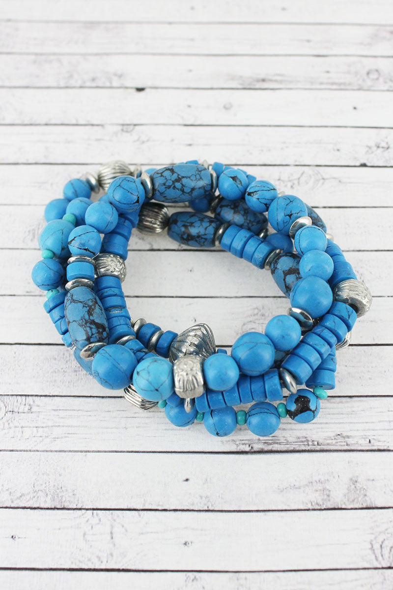 Turquoise Blue and Silvertone Clay Mixed Bead Bracelet Set