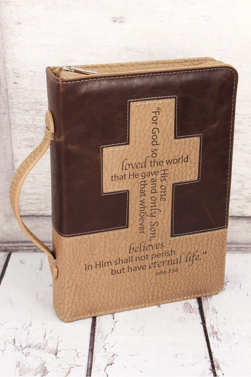 LuxLeather Brown and Tan John 3:16 Bible Cover