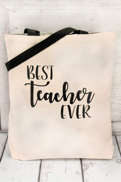 Best Teacher Ever Canvas Tote with Contrasting Handles #BE010 (PLEASE ALLOW 3-5 BUSINESS DAYS. EXPEDITED SHIPPING N/A)