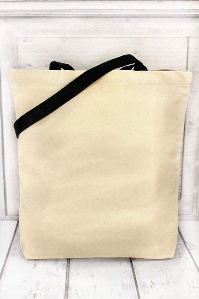 Happy Camper Canvas Tote with Contrasting Handles