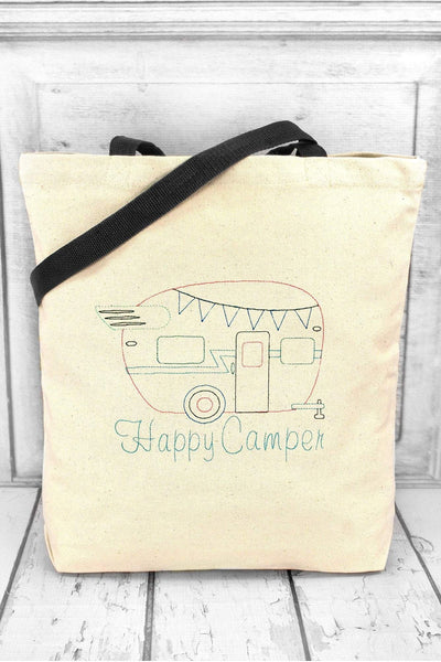 Happy Camper Canvas Tote with Contrasting Handles #BE010 (PLEASE ALLOW 3-5 BUSINESS DAYS. EXPEDITED SHIPPING N/A)
