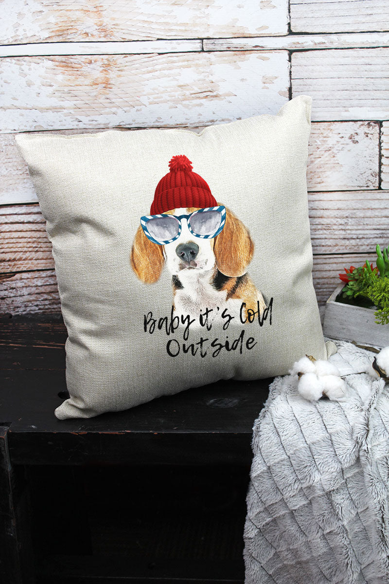 Beagle Baby It's Cold Outside Decorative Pillow Cover