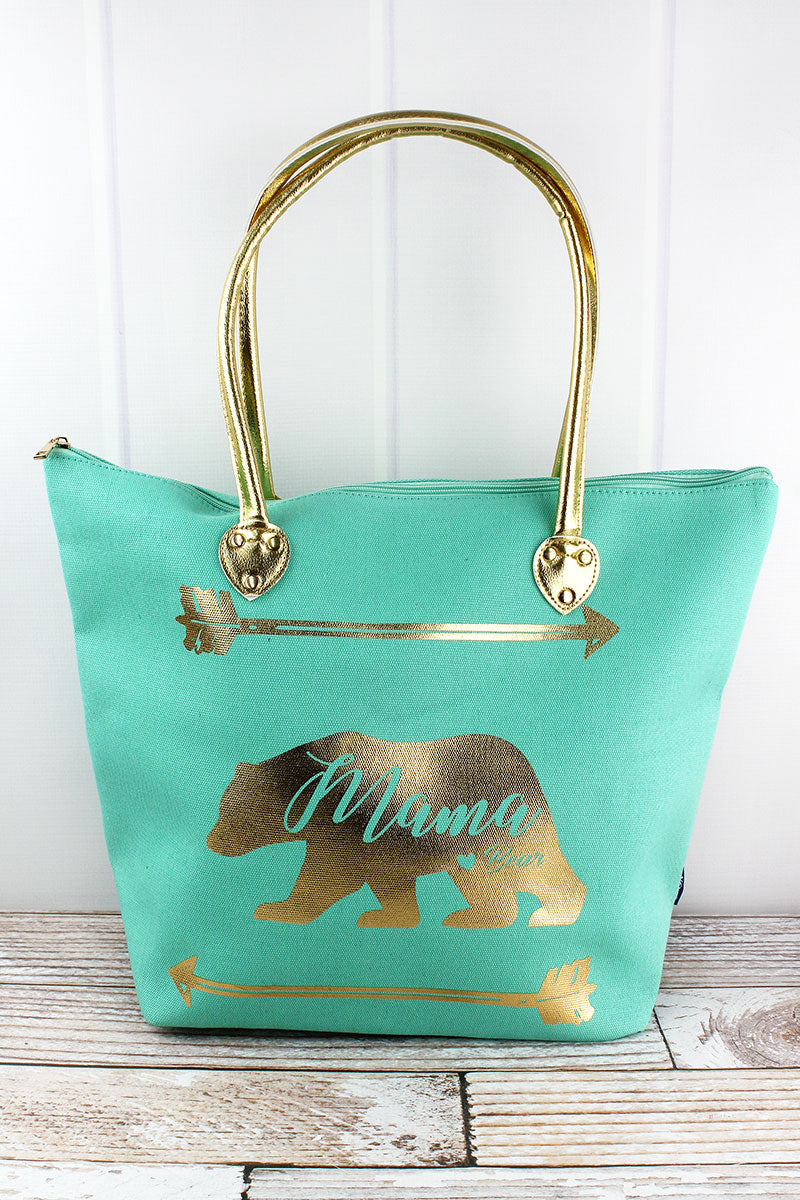 NGIL Metallic Gold 'Mama Bear' Mint Shoulder Tote