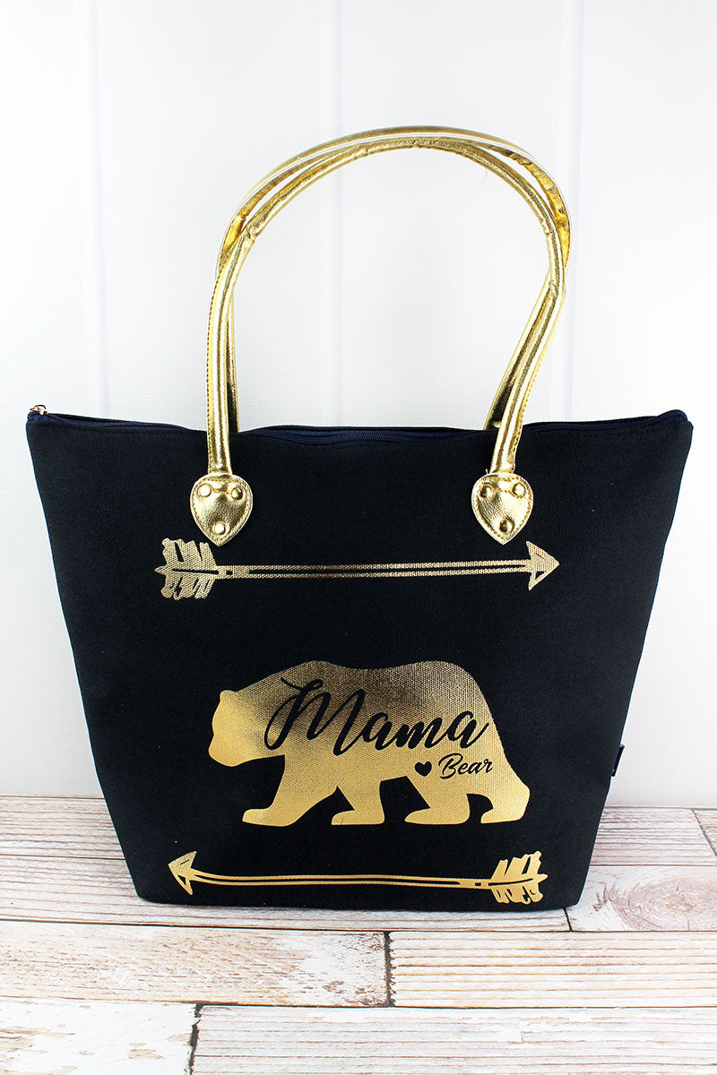 NGIL Metallic Gold 'Mama Bear' Navy Shoulder Tote