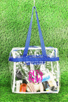 NGIL Clear Stadium Tote Bag with Royal Trim