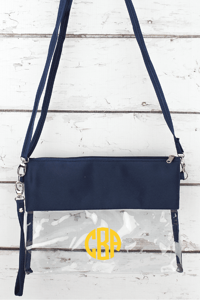 2d9449839162 Clear Crossbody Bag with Navy Trim | Wholesale Accessory Market