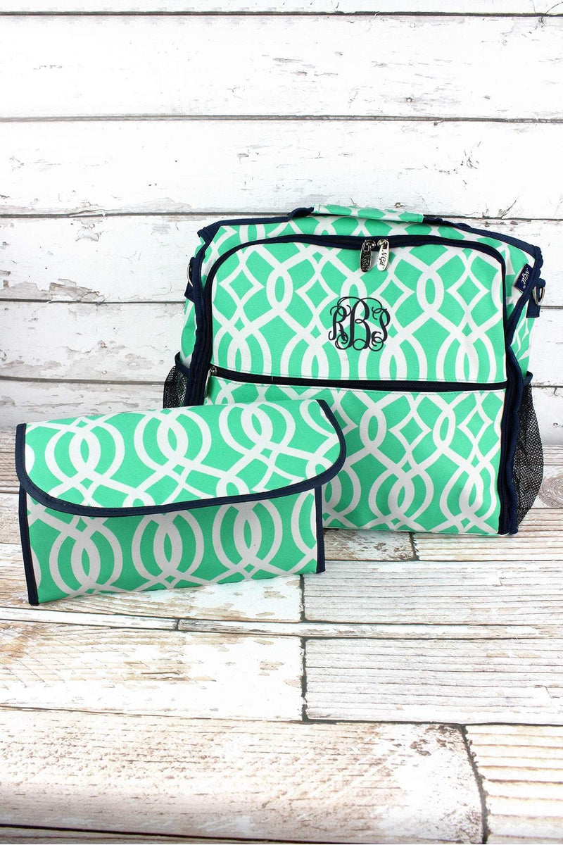 NGIL Mint Trellis Diaper Backpack