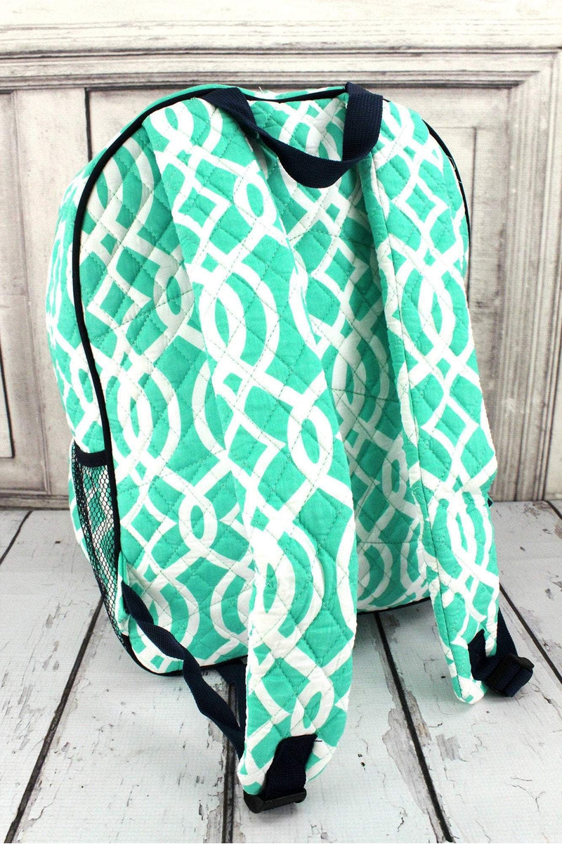 NGIL Mint Trellis Quilted Oversized Backpack with Navy Trim