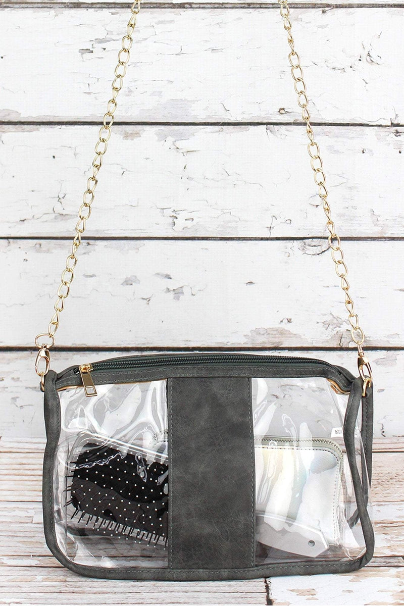 NGIL Clear Stadium Bag with Gray Faux Leather Trim