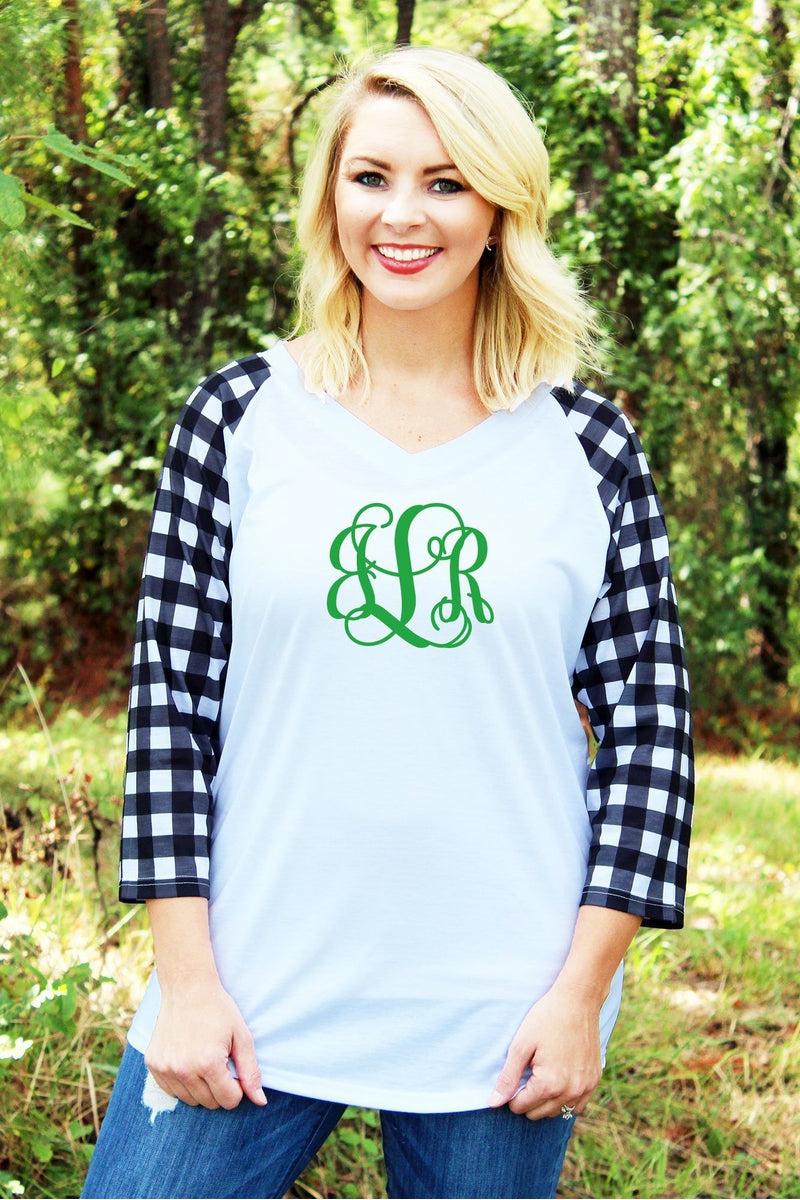 PRE-ORDER* Mad For Plaid 3/4 Sleeve V-Neck Raglan Tee **EXPECTED SHIP DATE 10/25**