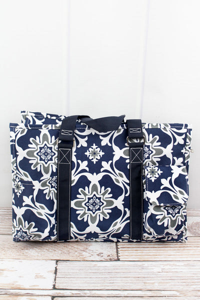NGIL Zen Garden Utility Tote with Navy Trim