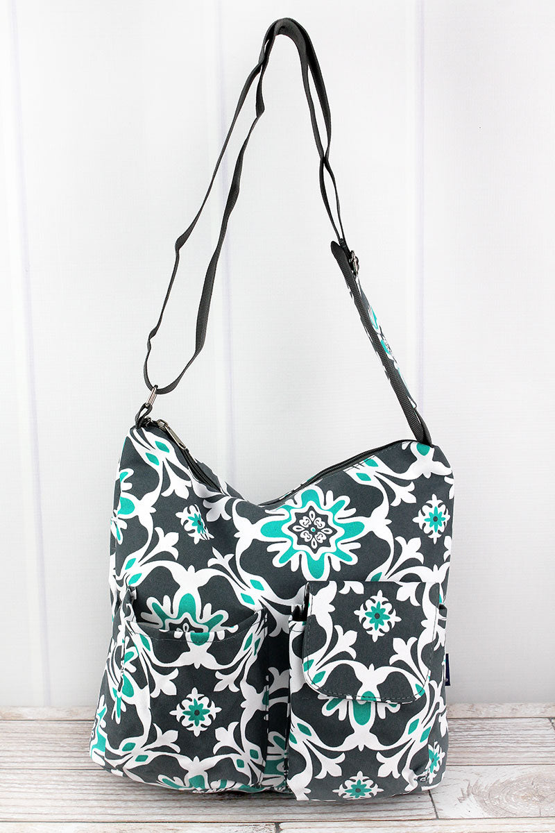 NGIL Serene Garden Multi-Pocket Crossbody Tote