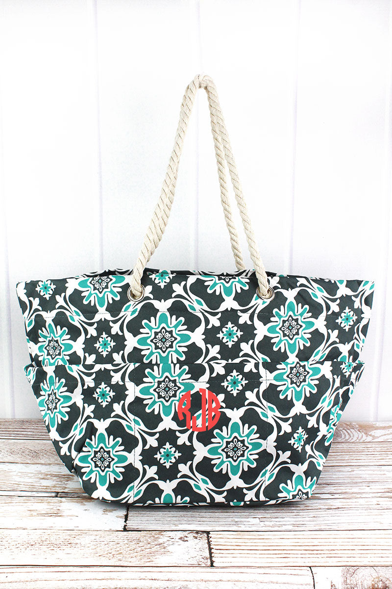 NGIL Serene Garden Rope Handle Beach Tote