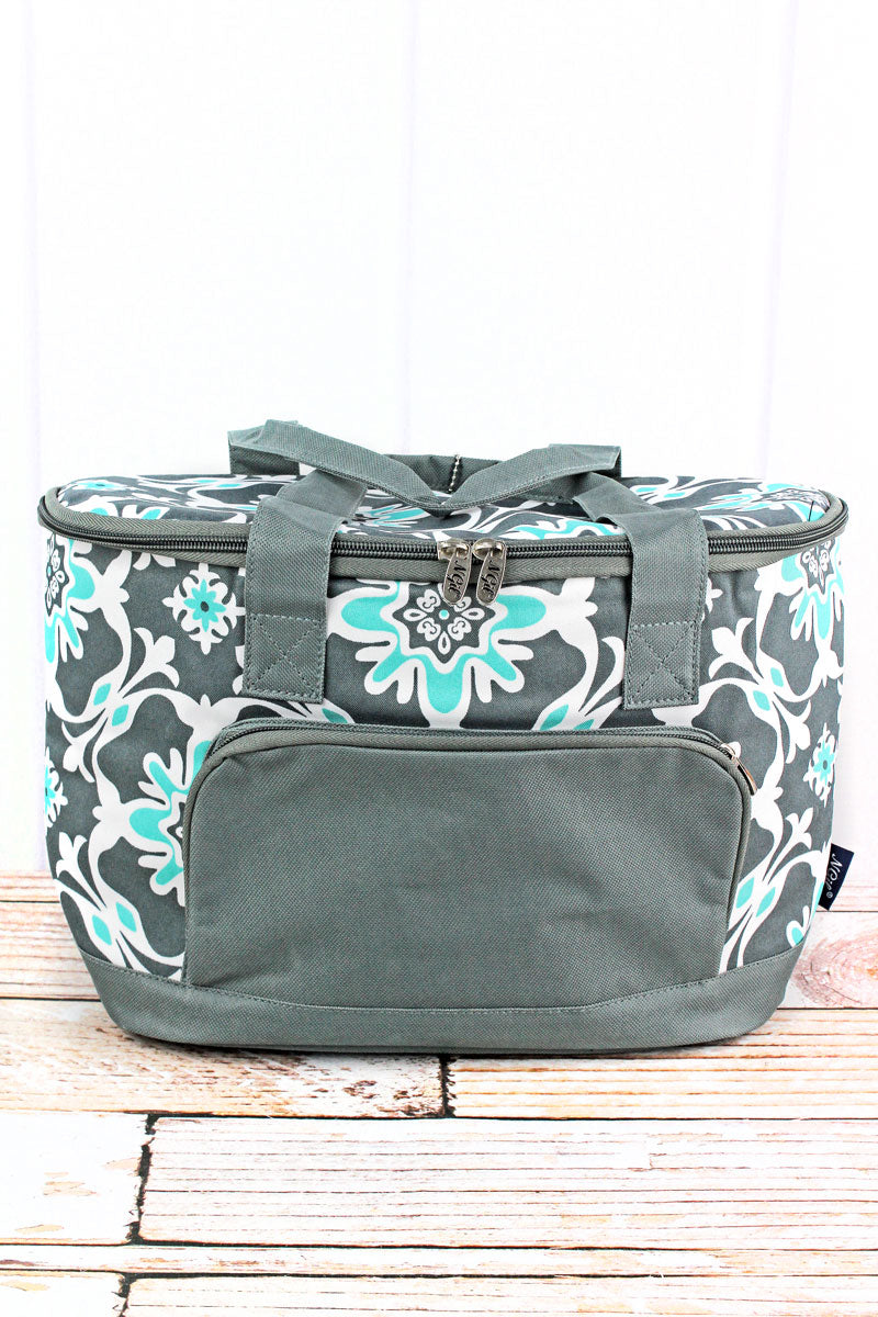 NGIL Serene Garden and Gray Mini Cooler Tote with Lid