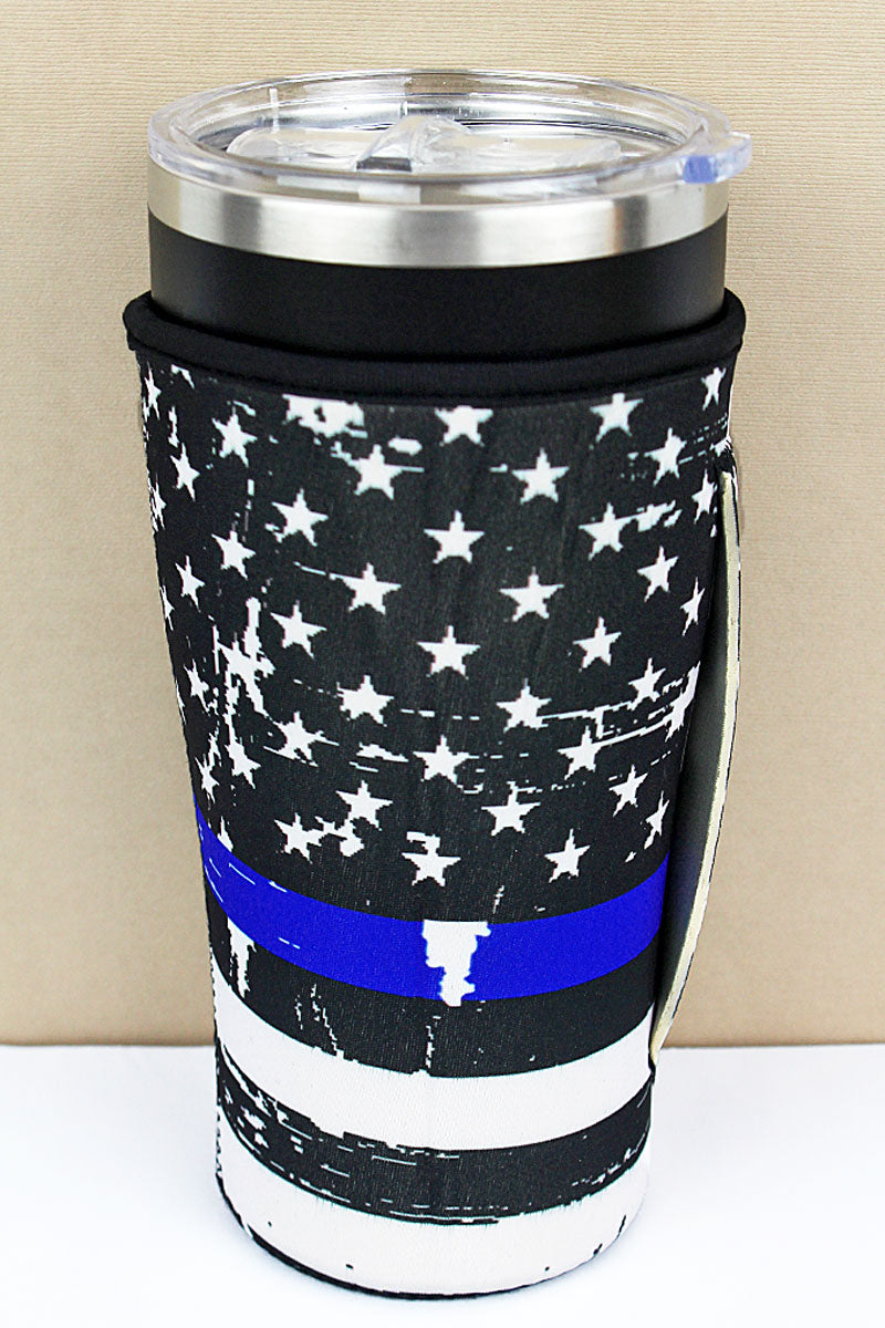 Thin Blue Line Flag Tumbler Drink Sleeve