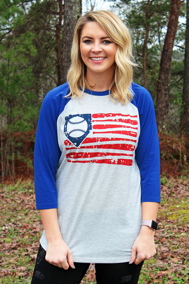 PRE-ORDER* Vintage Baseball Flag 3/4 Sleeve Raglan Tee **EXPECTED SHIP DATE 3/10**