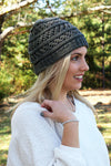 Winter Weekend Plush Lined Knit Ponytail Beanie, Charcoal