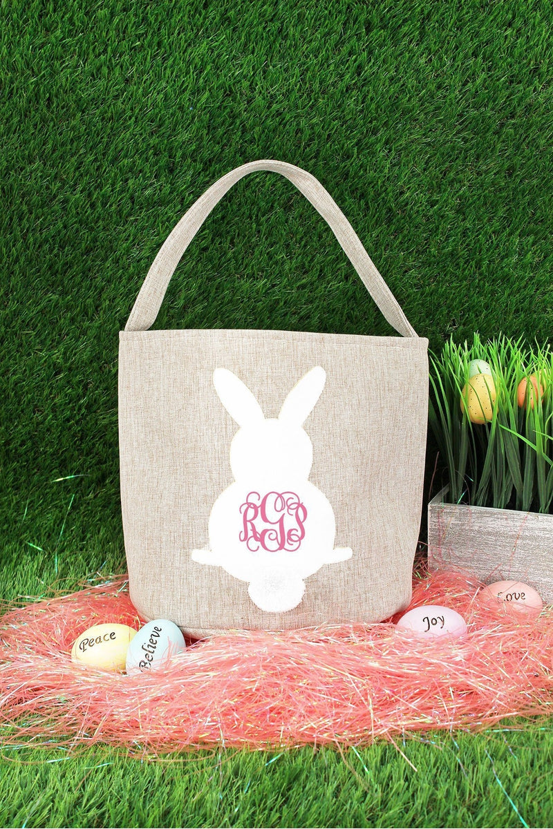 White Bunny Brown Crosshatch Easter Bucket Bag