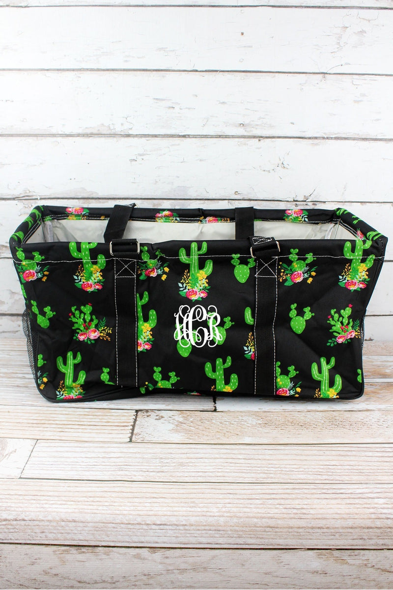 NGIL Cactus Garden Collapsible Haul-It-All Basket with Mesh Pockets