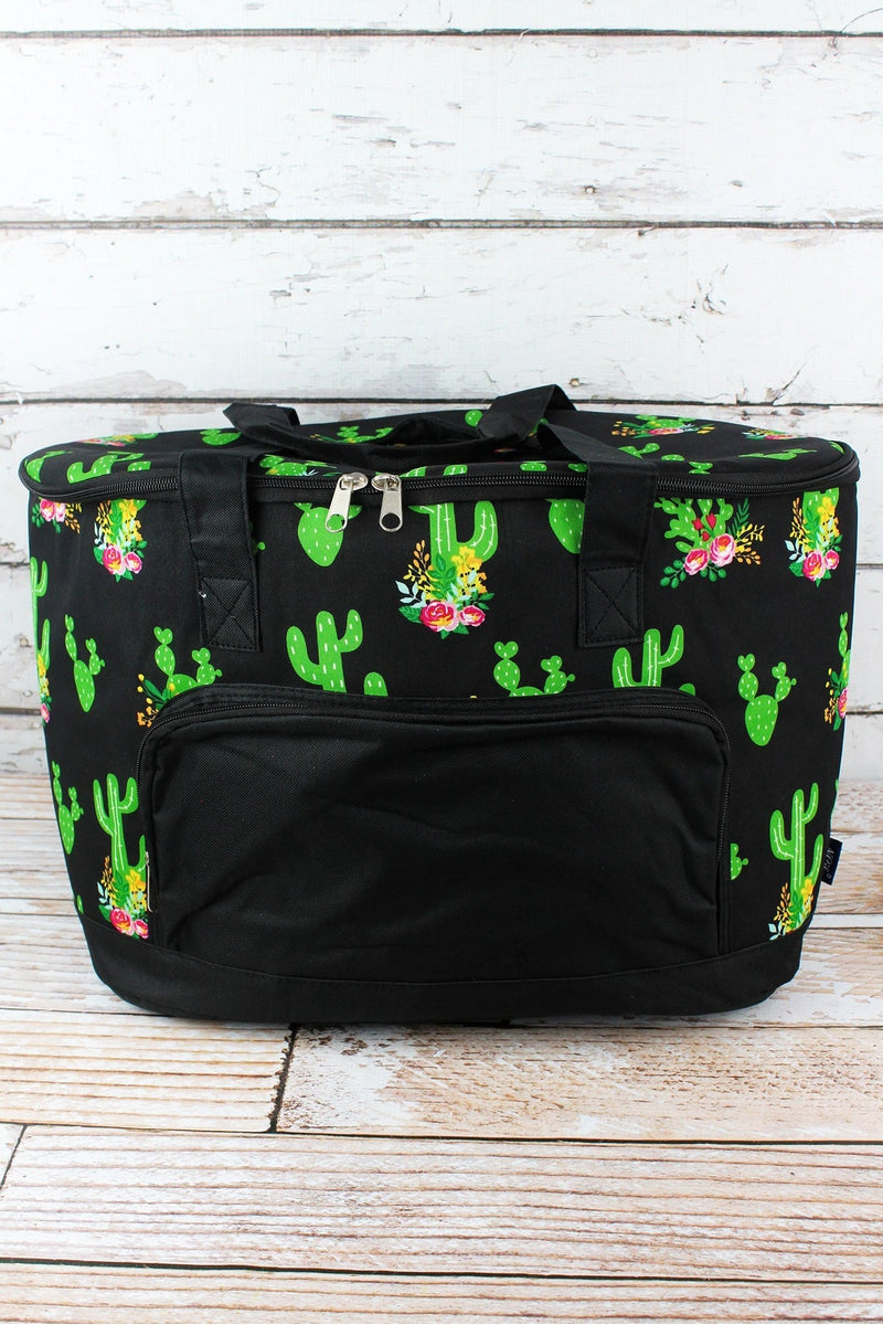 NGIL Cactus Garden and Black Cooler Tote with Lid