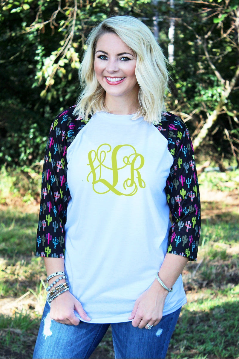 PRE-ORDER* Crazy Cactus 3/4 Sleeve Raglan Tee *Personalize It **EXPECTED SHIP DATE 10/25**