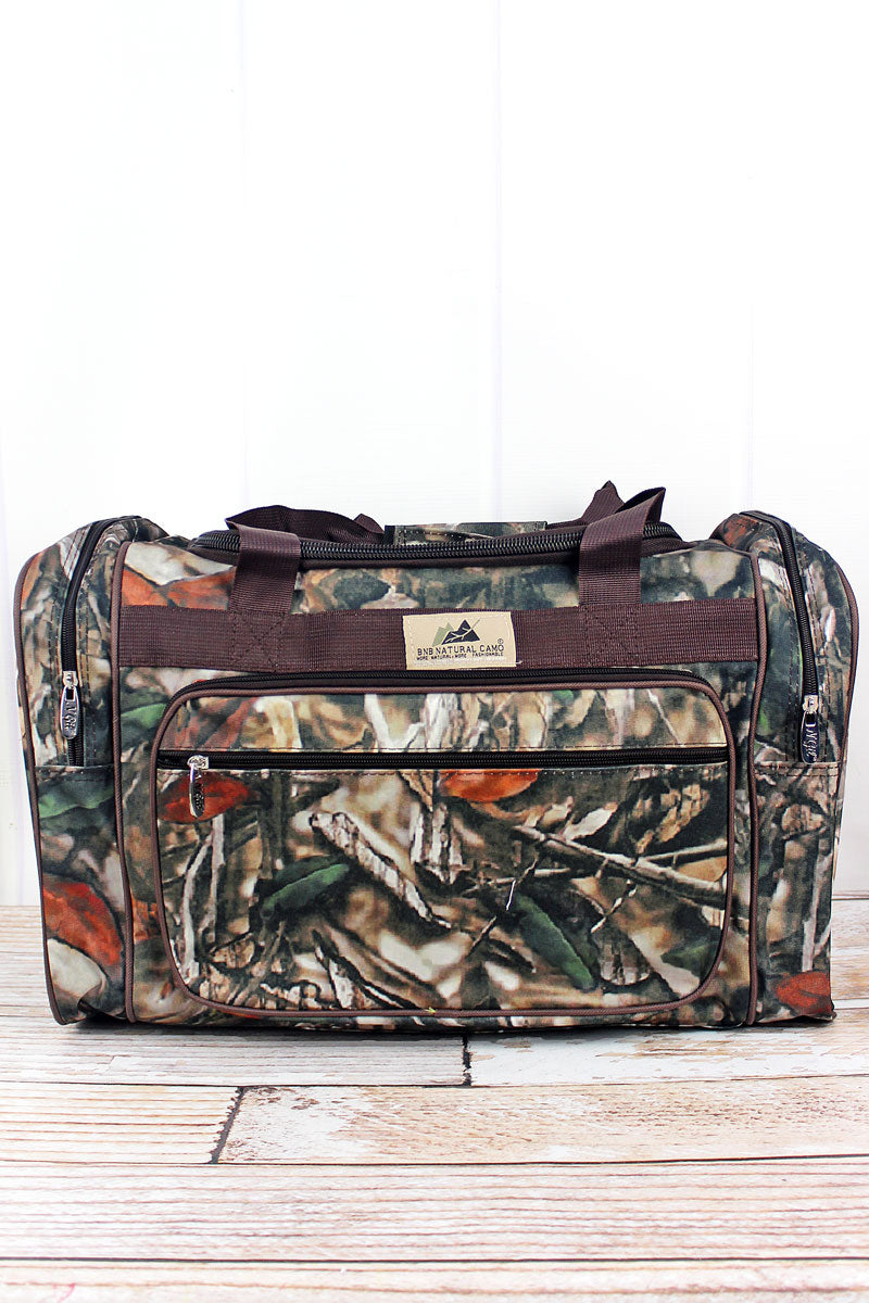 NGIL Natural Camo Duffle Bag with Brown Trim 20""
