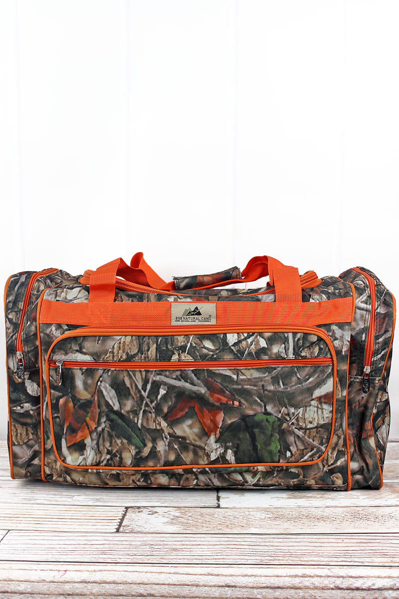 NGIL Natural Camo Duffle Bag with Orange Trim 23""