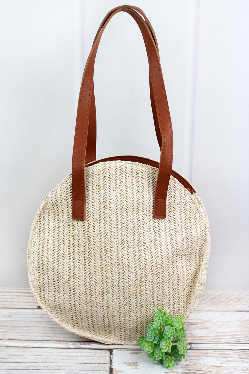 Summer Getaway Beige Round Straw Bag
