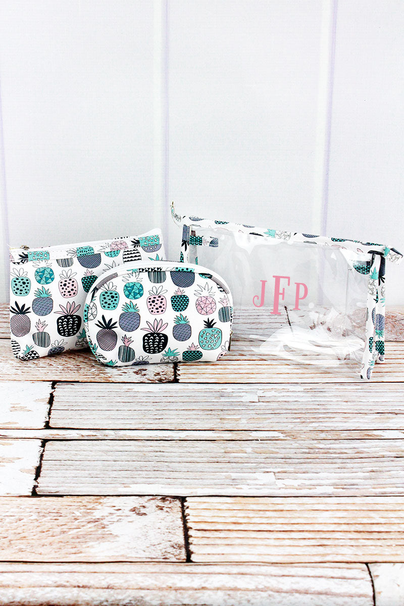 Playful Pineapples and Clear 3 Piece Cosmetic Bag Set