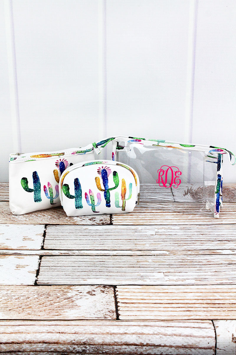 Colorful Cactus and Clear 3 Piece Cosmetic Bag Set