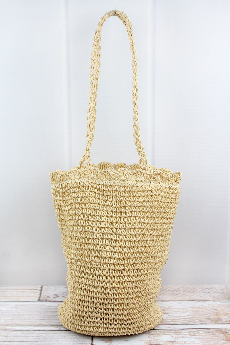 Walking On Sunshine Beige Straw Tote