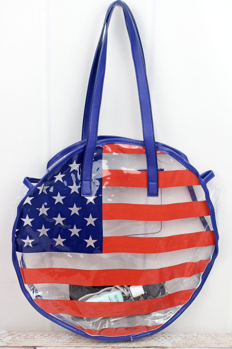 Stars & Stripes Clear Round Beach Tote