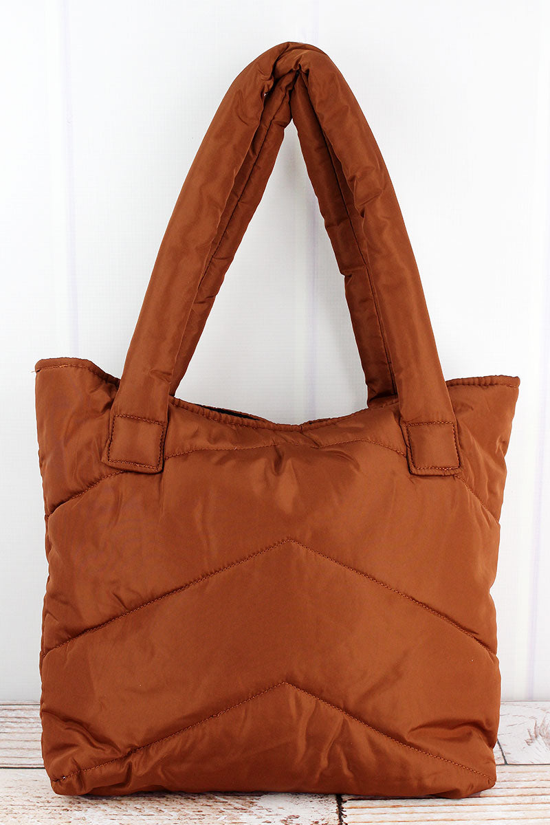 Winter Chic Brown Puffer Tote