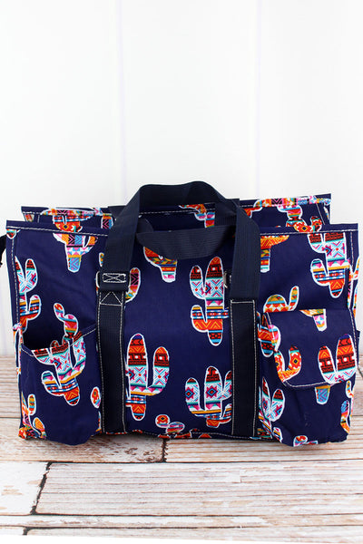 NGIL Mojave Cactus Utility Tote with Navy Trim