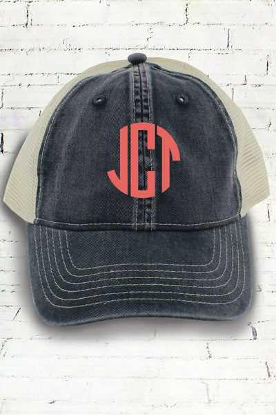 Graphite and Ivory Comfort Colors Unstructured Trucker Cap #CC0105 (PLEASE ALLOW 3-5 BUSINESS DAYS. EXPEDITED SHIPPING N/A)