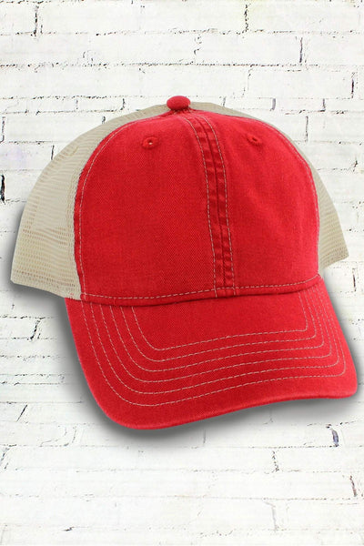 Red and Ivory Comfort Colors Unstructured Trucker Cap